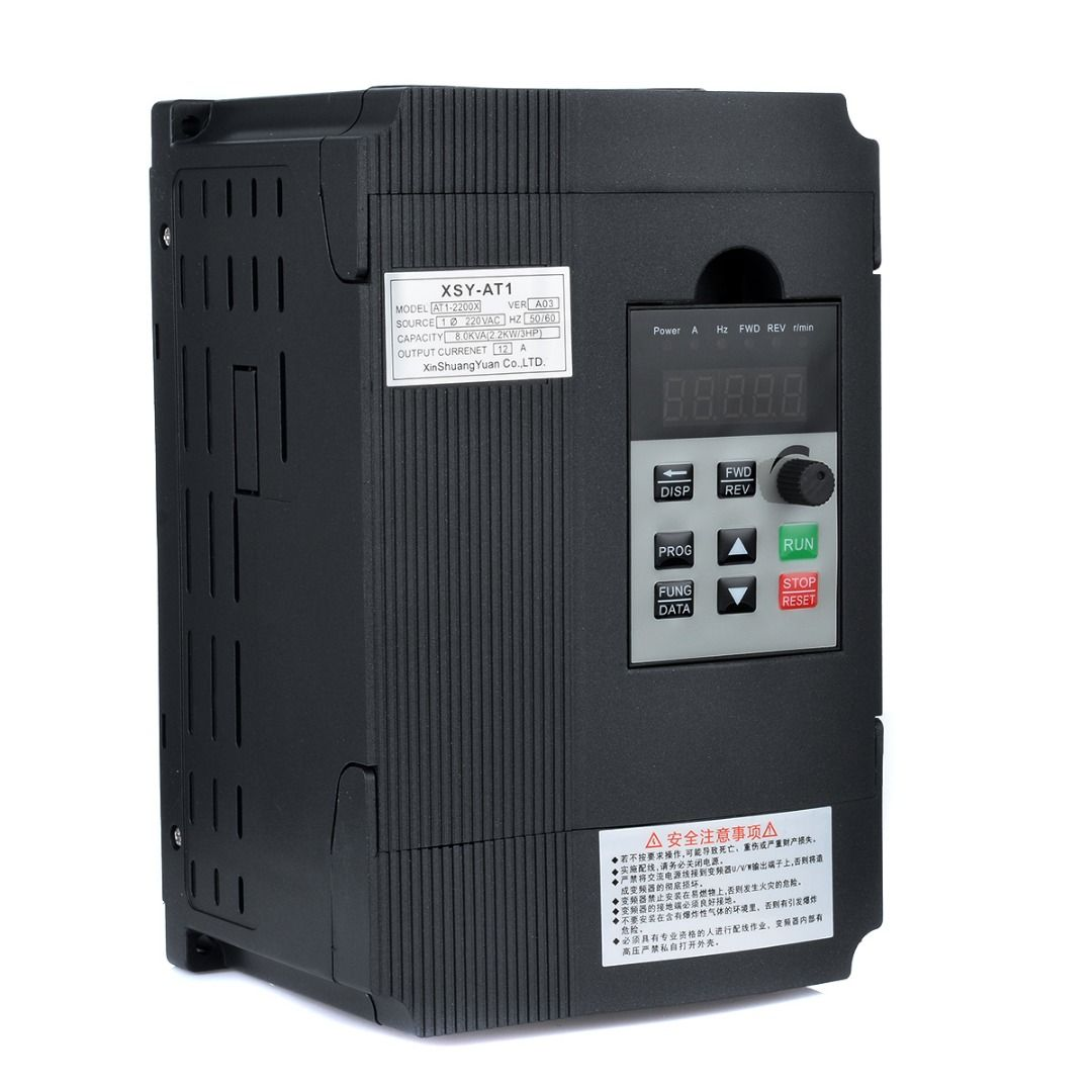 1pc Single Phase Variable Inverter 2.2KW 3HP Frequency Drive Inverter VSD VFD PWM Control 195*130*100mm For Motor Speed Control