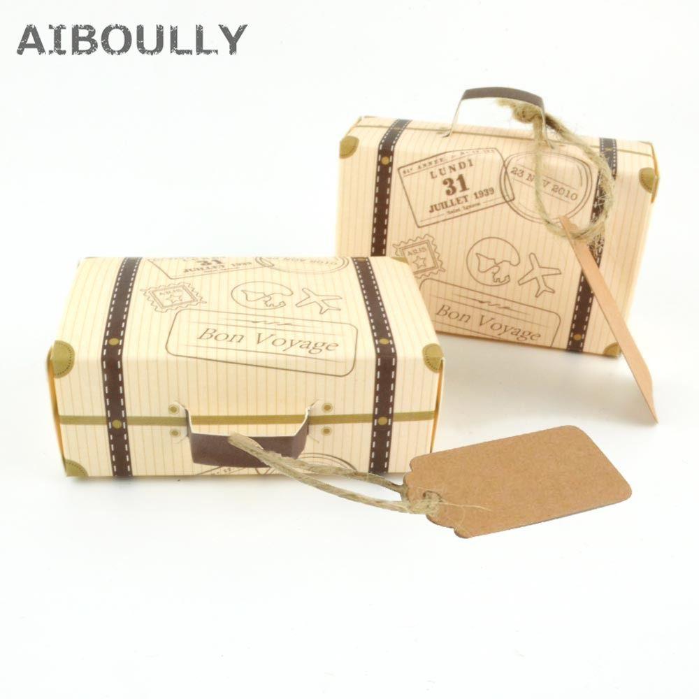 100 pièces Creative mini valise boîte à bonbons cadeau bonbons Carton carte emballage boîte de mariage fête d'anniversaire faveurs avec étiquette carte