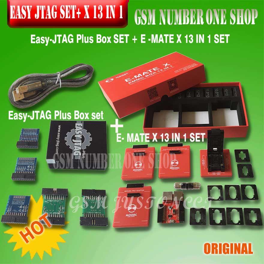 Neue version Vollen satz Einfach Jtag plus box + MOORC E-MATE X E MATE PRO BOX EMMC BGA 13 IN 1 für HTC/Huawei/LG/Motorola/Samsung ..