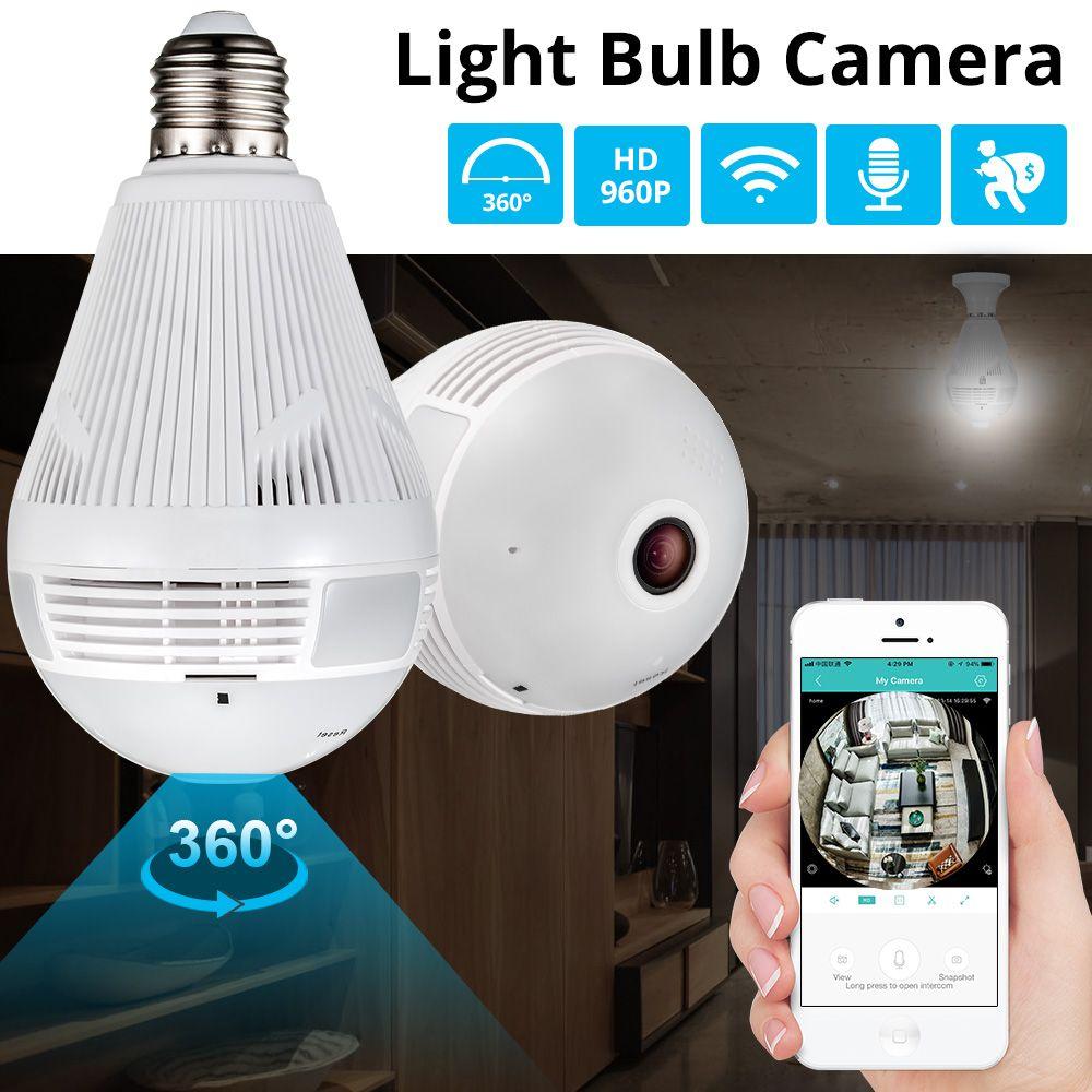 KERUI lumière LED 960 P sans fil panoramique sécurité à domicile WiFi CCTV Fisheye ampoule lampe IP caméra 360 degrés sécurité à domicile cambrioleur