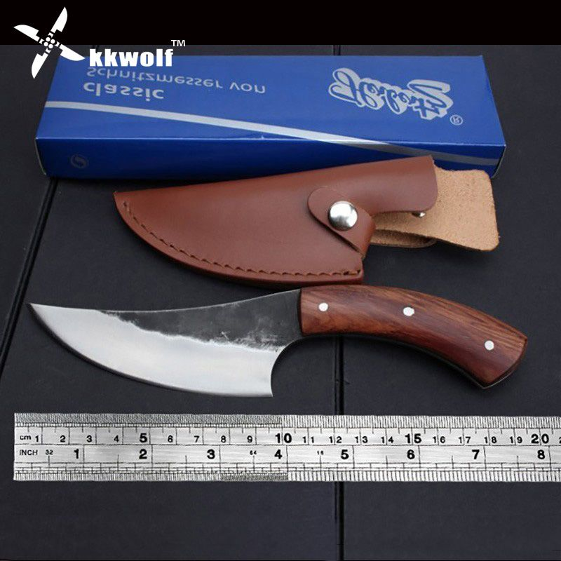 KKWOLF High carbon steel fixed knife Straight Handmade forged hunting knife 58HRC Wooden handle Camping Tactical Survival Knife