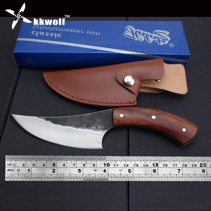 KKWOLF couteau fixe en acier à haute teneur en carbone droit couteau de chasse forgé à la main 58HRC manche en bois Camping couteau de survie tactique