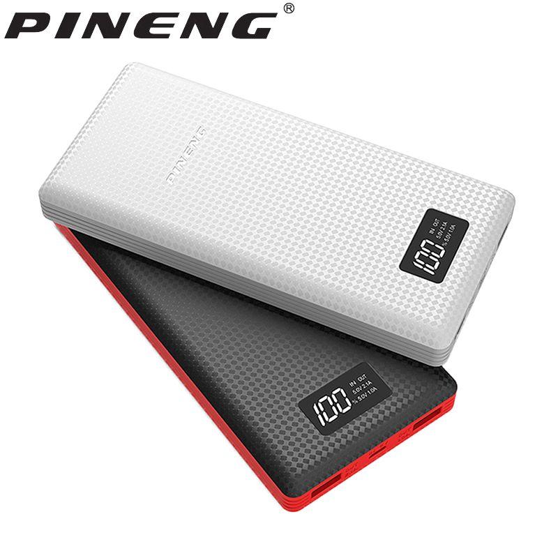 PINENG Energienbank 20000 mAh Genaue Led-anzeige Externe Batterie Bewegliche Bewegliche Aufladeeinheit Dual USB Mit Kabel Poverbank