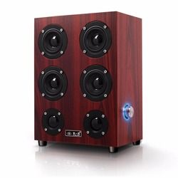 Fashionable Portable Wooden Computer Speakers Subwoofer 3D Full Four Channel Output 3.5mm Jack Home Use