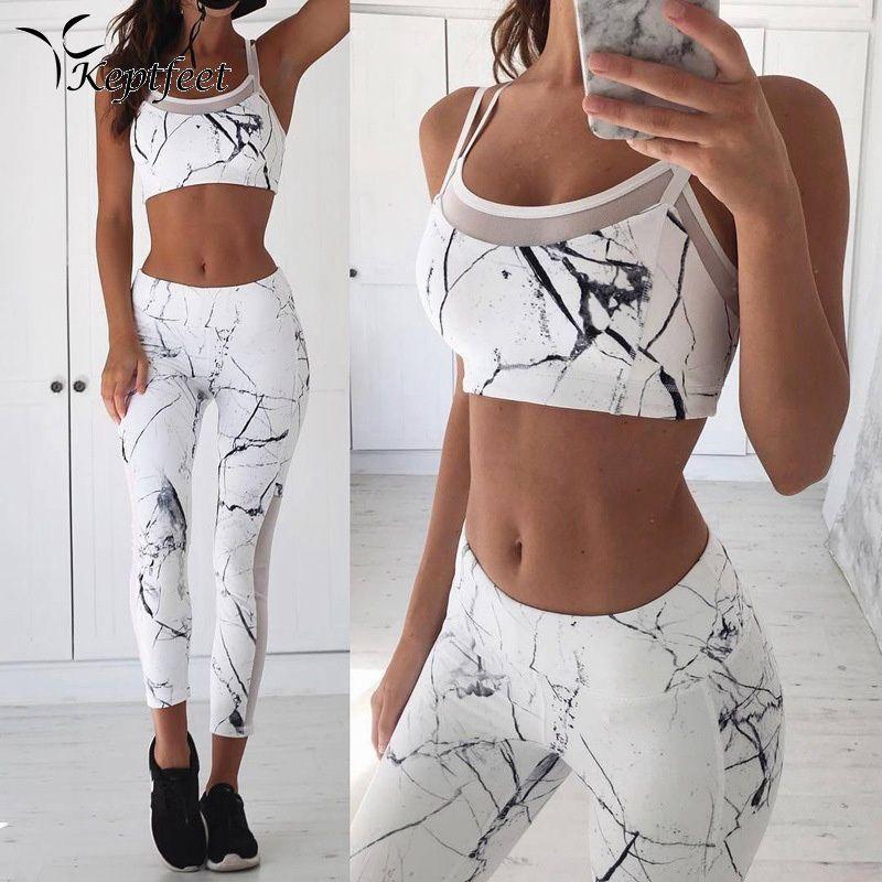 Vest Tank Top Leggings Tracksuit Clothing Fitness White Patchwork Gym Sportswear Outfits Sport Suit Women 2 Piece Yoga Set