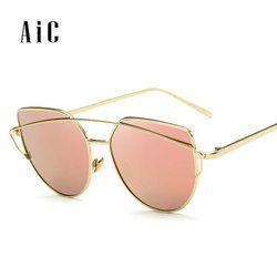 2018 nuevas gafas de sol del ojo del gato las mujeres, marca diseñador moda doble haz gafas de sol, marco de la aleación de la doble-cubierta UV400