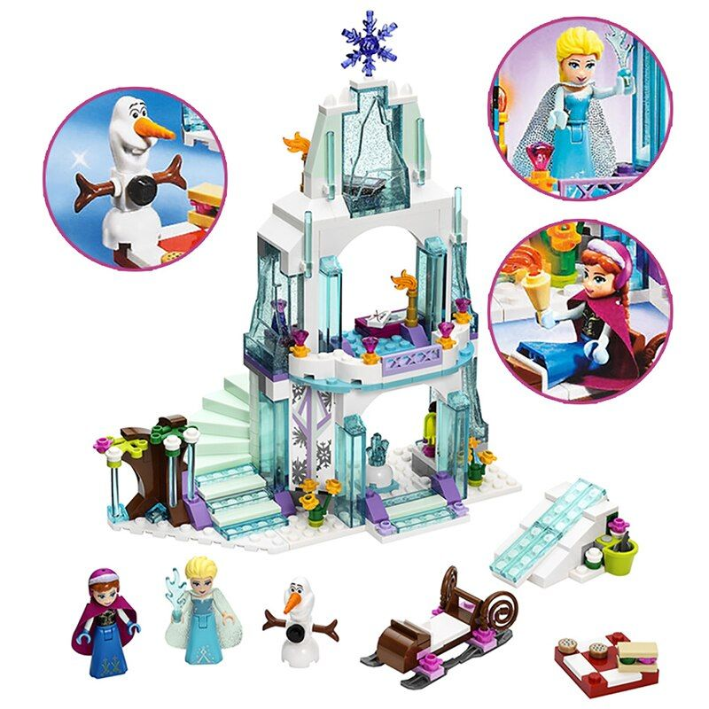 2018 MOC Friends Series Elsa Anna Figures Dress Up Building Block Toys Compatible ALOF Girl Friends Princess Castle Legoe Toy