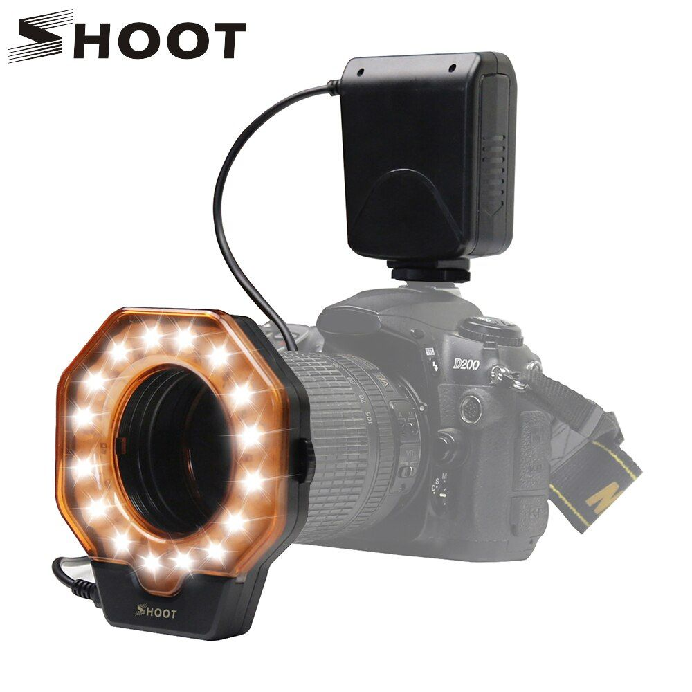 TIRER Led Macro Ring Flash Light pour Nikon D5300 D3400 D7200 D750 D3100 Canon 1300D 6D 5D Olympus e420 Pentax k5 K50 Dslr Caméra