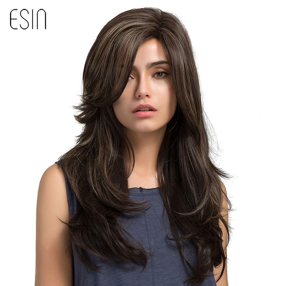 Esin 24 Inches Long Natural Wave Wigs for Women Side Parting Highlighted Synthetic Wig High Temperature Fiber Breathable Wig Cap