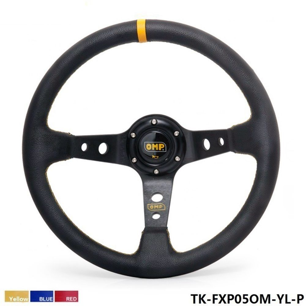 350MM PVC Drifting Sport Racing Steering Wheel + Horn Button Aluminum Frame (color:yellow red blue) TK-FXP05OM-P