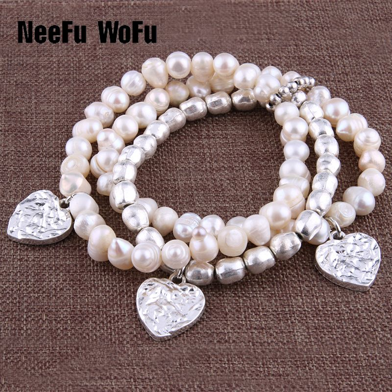 NeeFu WoFu Bracelets 8mm Naturel Perle en alliage de Zinc DIY Bracelet Charme Femme Perlée Bracelet Starfish multi-tour Bracelet