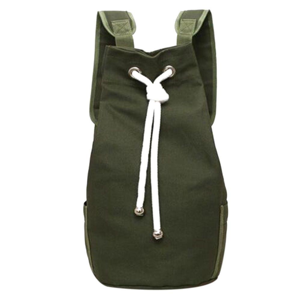 Casual Men Canvas Backpack Large Capacity Barrel Backpack Army Green String Drawstring Daypack for Men Back <font><b>Pack</b></font> Backpacks 2018