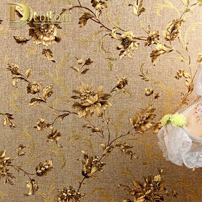 Luxury Floral Wall paper Modern Embossed Gold Wallpaper For Walls Papel De Parede Wallpaper Roll Tapete Vinyl Wallpaper R332