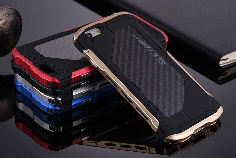 For iPhone 6 6s plus Ultra thin Sector PRO Metal Aluminum+Carbon Men Cell Phone Cases For iPhone 7 8 plus X 10 Case Metal Cover