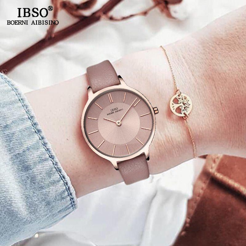 IBSO marque 8 MM Ultra-mince Montre à Quartz femmes en cuir véritable femmes montres 2019 de luxe dames Montre Montre Femme