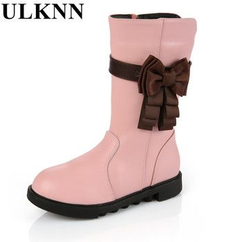 ULKNN Girls Winter High boots Children's  Cow Split Boots for Children Baby bowknot Shoes Winter Plush Boots for Boy Girls Pink