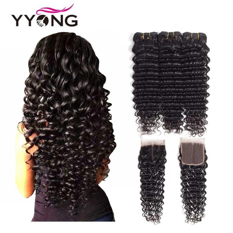 Yyong Hair Brazilian Deep Wave Human Hair 3 Bundles With 4*4 Free Part Lace Closure Non Remy Hair Natural Color Free Shipping