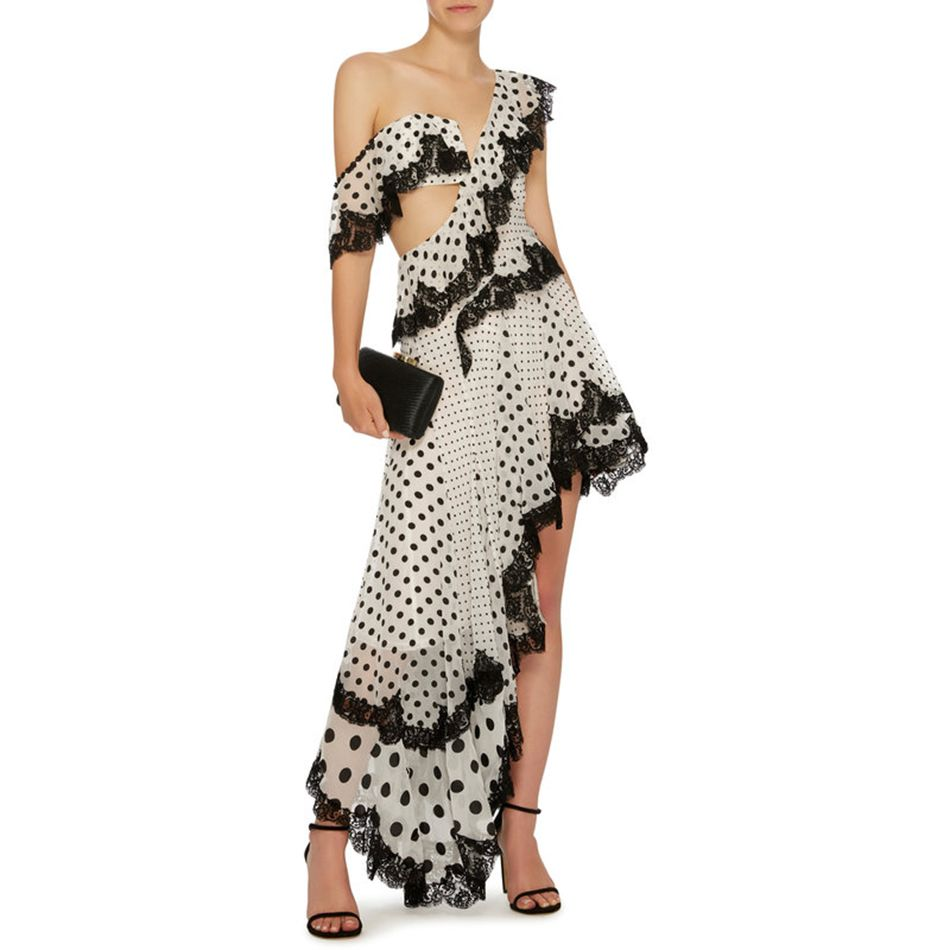 New Celebrity Party Women Dress White Sleeveless One-Shoulder Dot Chiffon Sexy Elegant Dress Women Asymmetrical Vestidos