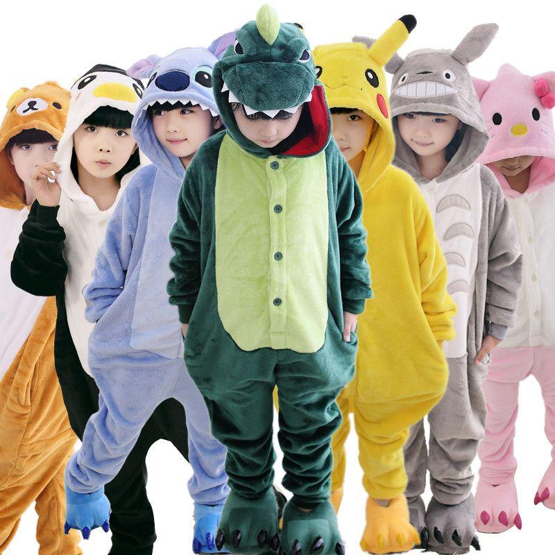 Для маленьких мальчиков пижамы для девочек осень-зима Детские фланелевые теплые животное Пингвин стежка панды Onesie пижамы Тоторо пижамы для...
