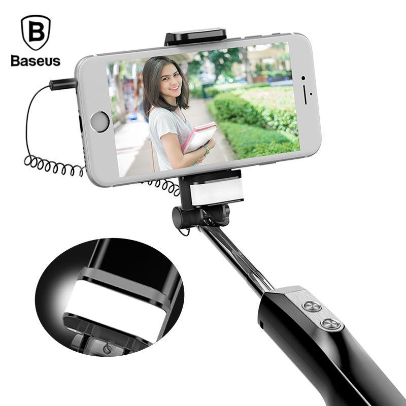 Baseus Wired Selfie Stick Für iPhone Mit Schönheit-Haut Füllen Licht Hinten Spiegel Erweiterbar Selbst Stick 3,5mm Jack für Samsung Huawei