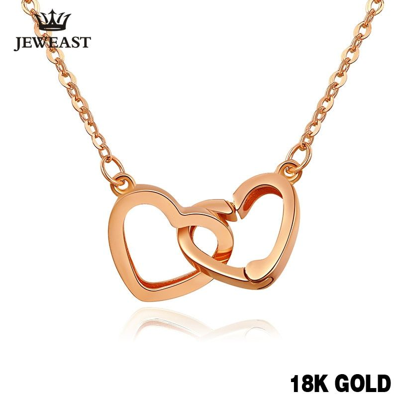 XXX Pure 18k Gold Necklace Pendant For Women Heart Charm Chain Fine Jewelry Elegant Romantic Fashion Real True Solid Party