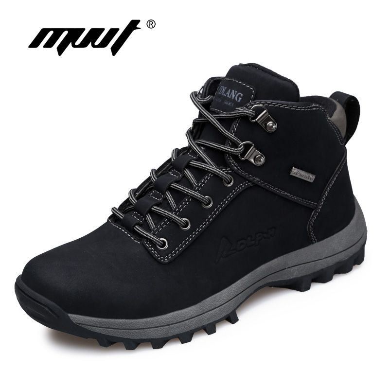 Brand Super Warm Men boots Winter Leather boots Waterproof Rubber Snow Boots England Retro ankle boots For Men winter shoes