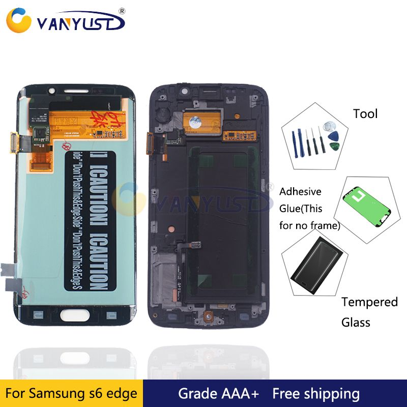 100% Tested Super Amoled LCD Display Touch Screen Digitizer Assembly for Samsung Galaxy S6 edge G925 G925F lcd Replacement