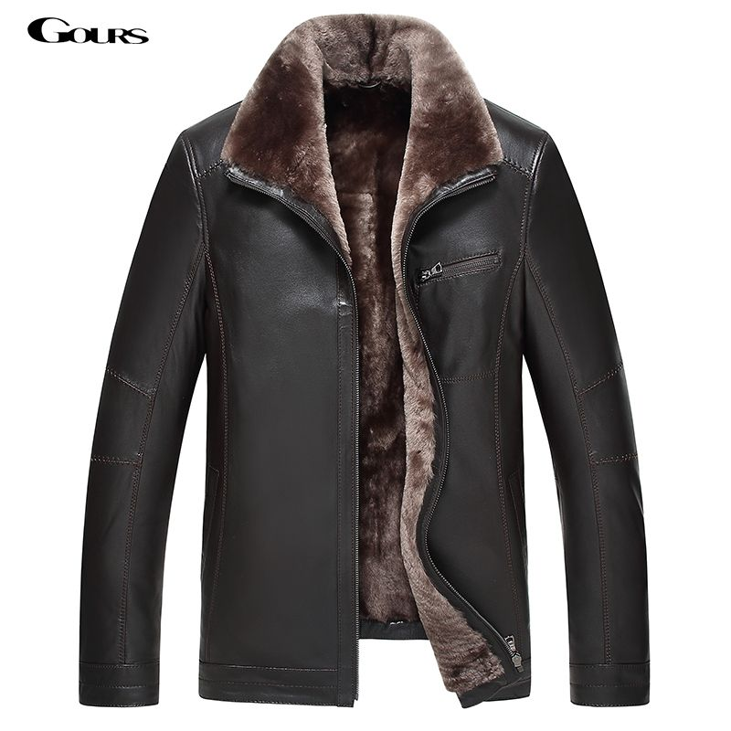 Gours Winter Men's Genuine Leather Jackets Brand Clothing Fashion Black Sheepskin Jacket and Coats with Wool Collar 2018 New 4XL