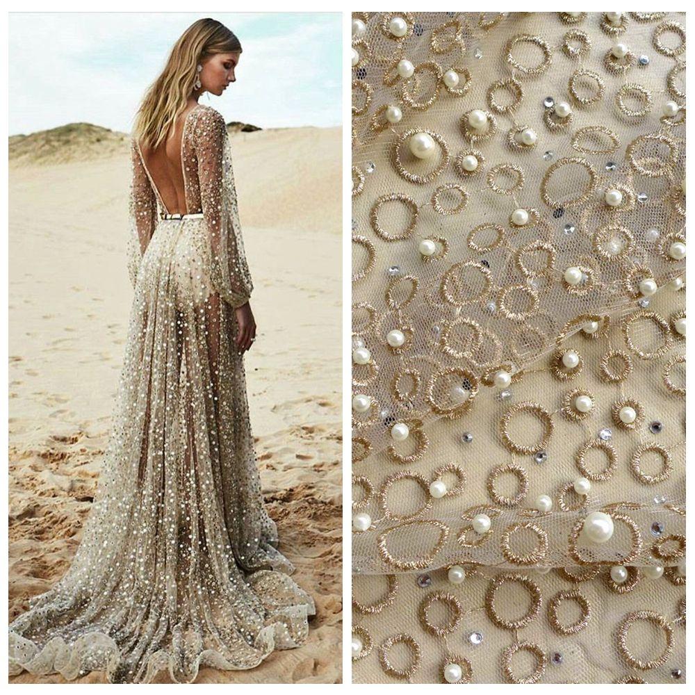 La Belleza une cour or pierres métalliques perles lourd brodé robe de mariée/soirée/spectacle robe dentelle tissu 51 ''widht