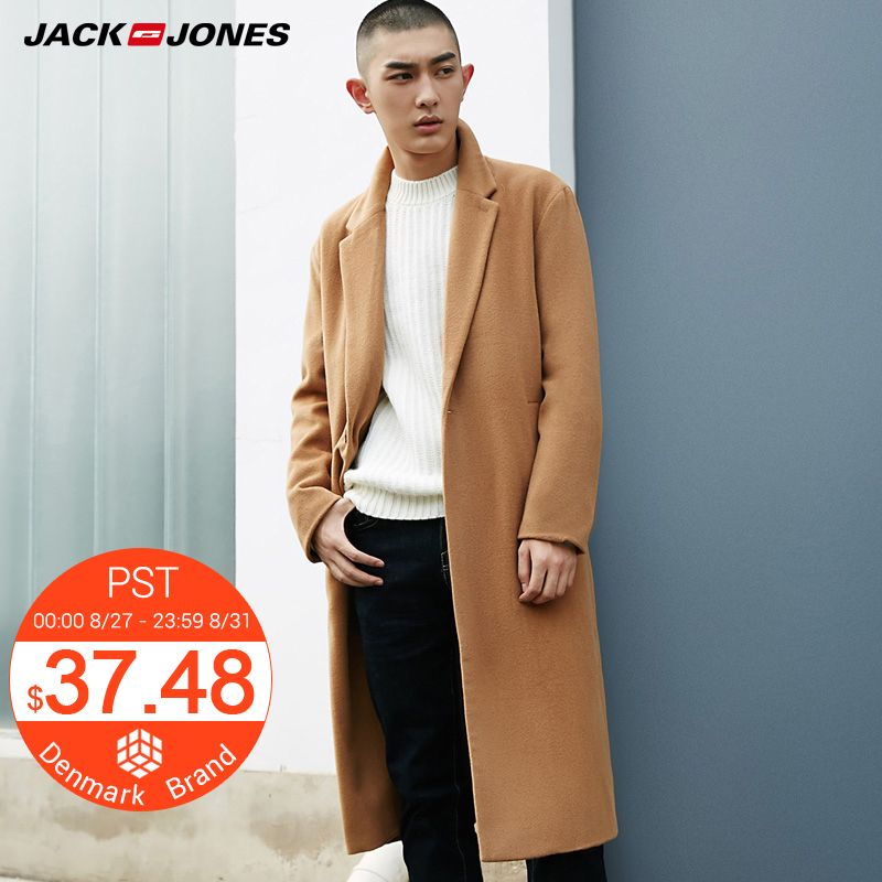 Jack Jones Brand 2018 NEW fashion long wool solid color casual single breasted male coats 217327521