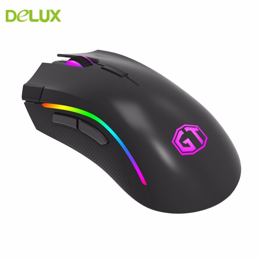 Delux M625 PMW3360 12000 DPI Wired USB Mouse Luminous Shining One-piece ABS Matt Appearance Mouse With Colorful RGB LED Light