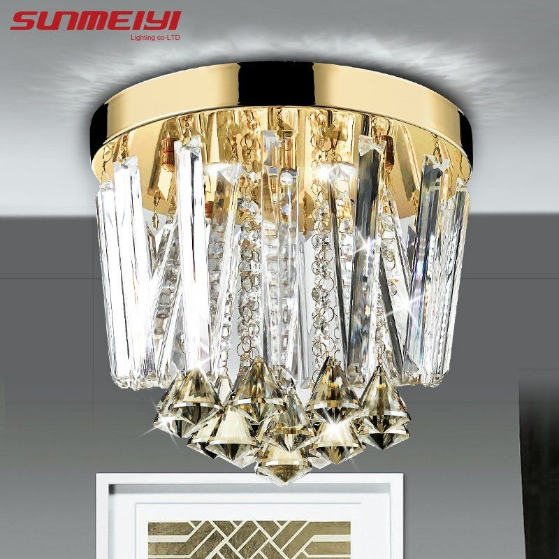 2018 Modern Round LED Crystal Ceiling Lights aisle entrance Lights For Home Living Room Bedroom Light Fixtures