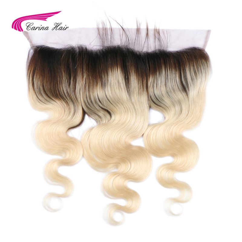 Carina Cheveux Brésiliens Remy Humains Cheveux Ombre 1b/613 Blonde 13*4 Dentelle Frontale Fermeture Oreille à L'oreille vague de corps Suisse Dentelle Cheveux de Bébé
