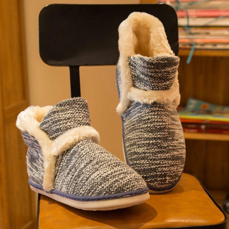 Hiver Pantoufles À La Maison Chaudes Adulte Hommes Et Femmes Pantoufle de Ménage Doux Non-Slip Courtes Peluche Plancher Intérieur Chaussures