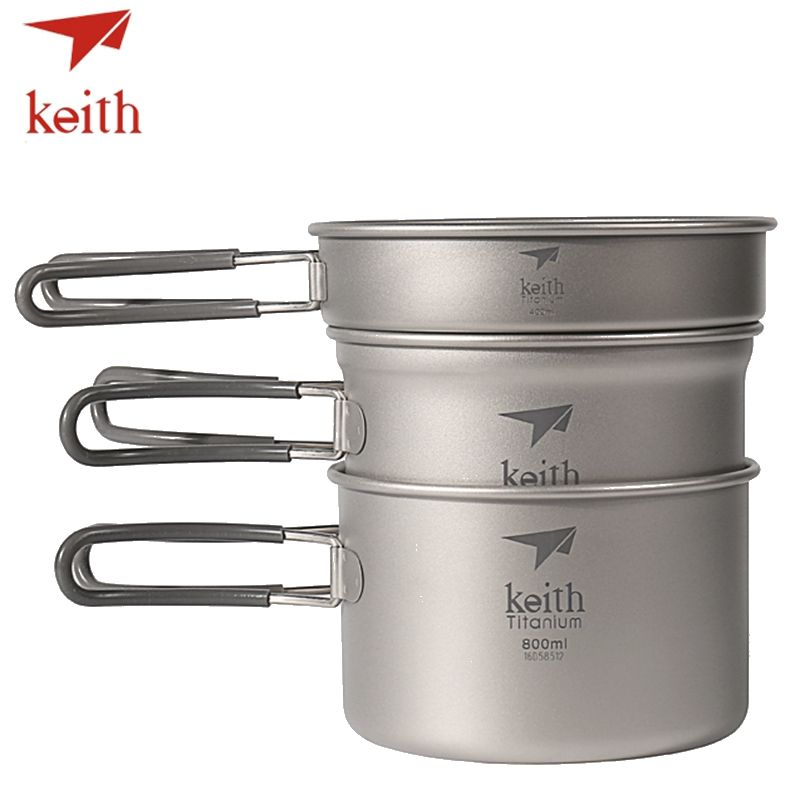Keith Titanium Pots Set Outdoor Travel Tableware Camping Hiking Utensils Picnic Cookware 3Pcs Caldron & Medium Pot & Frying Pan