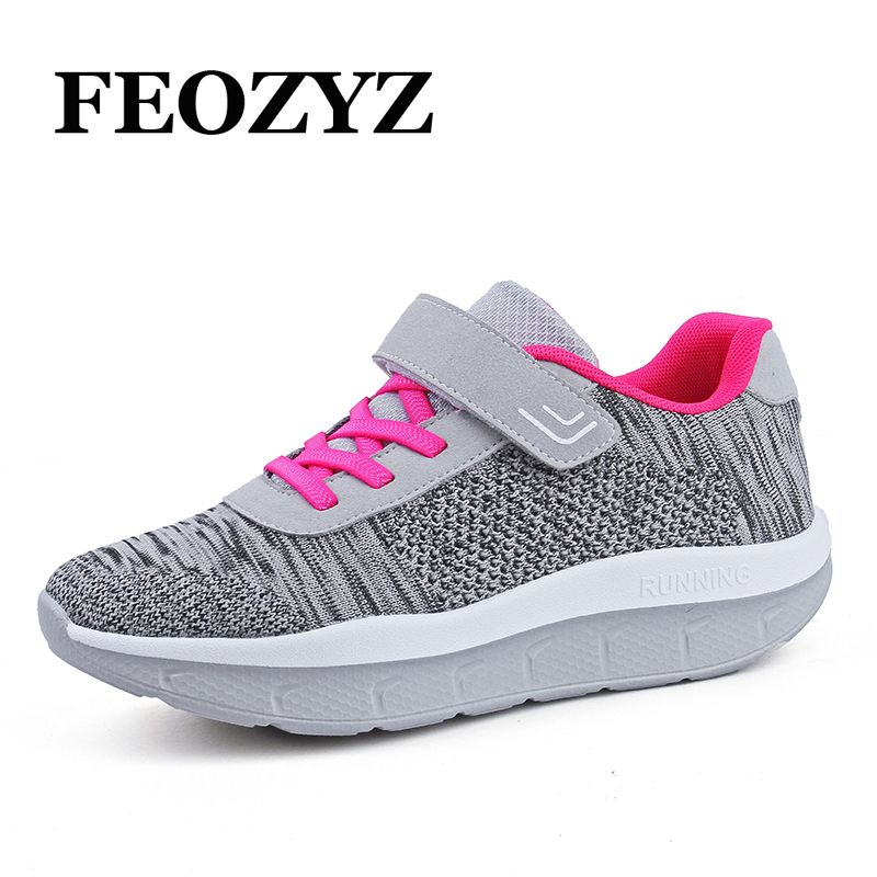 FEOZYZ Breathable Running Shoes For Women Shape Ups Walking Shoes Platform Wedge Sneakers Jogging Femme Fitness Shoes