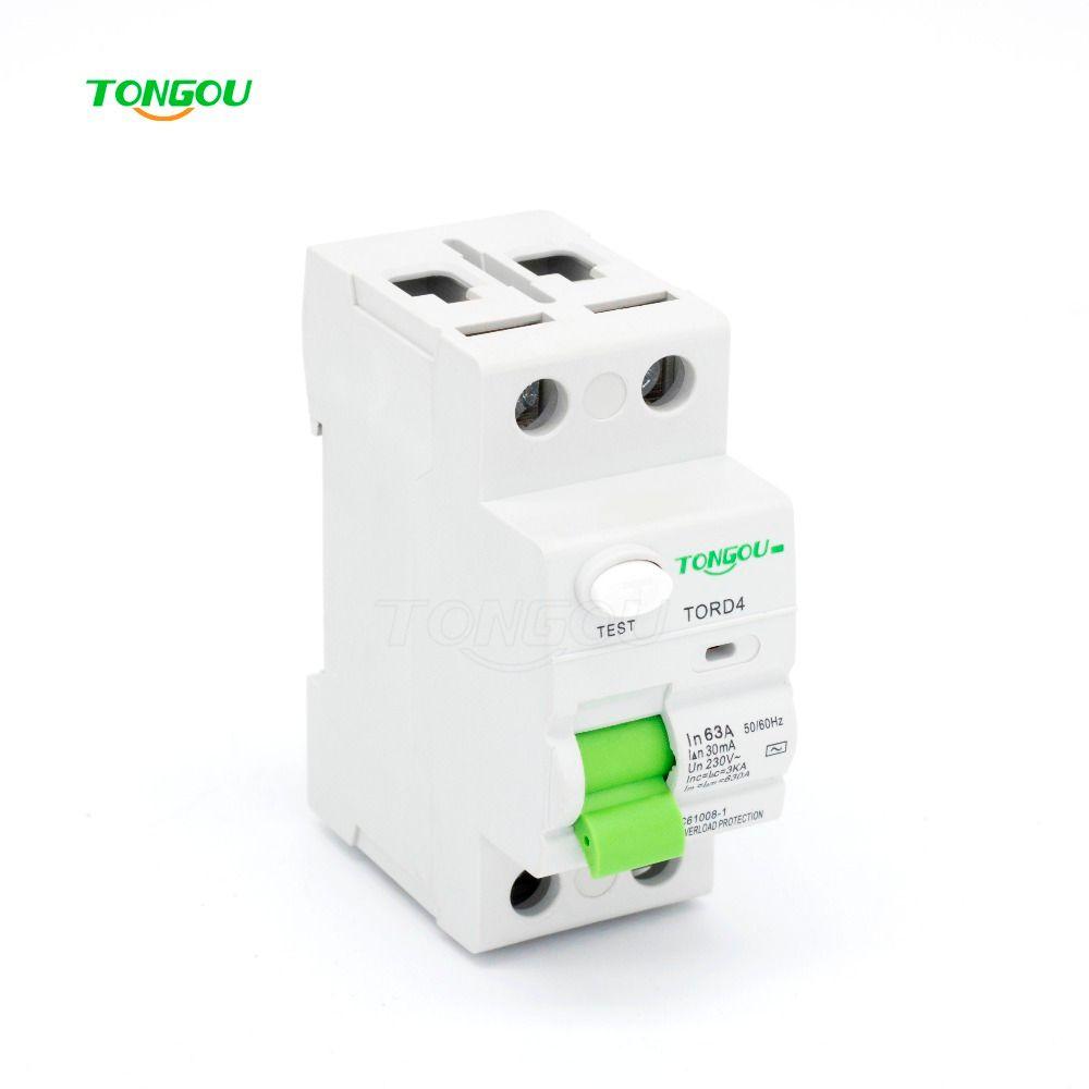 RCCB RCD 2P 63A 30mA 110V 220V AC Magnetic type Residual Current Circuit Breaker TORD4-63