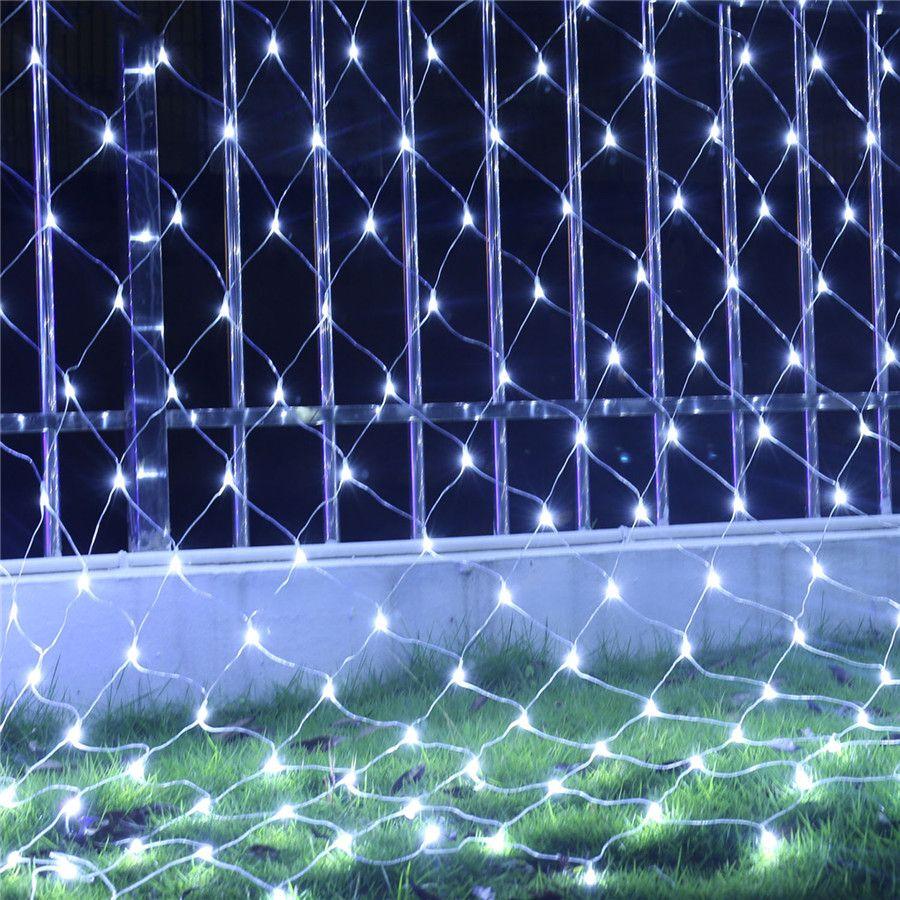 BEIAIDI 1.5mX1.5m 96 LED Net Mesh Fairy String Light Garland Window Curtain Christmas Fairy Light Wedding Party Holiday Light