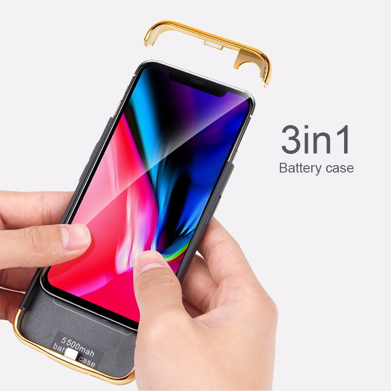 3in1 Ultra-Thin Shell For iphone X 2017 / Xs 2018 Battery Cases Rechargeable External Portable Power bank Charger Cover Case