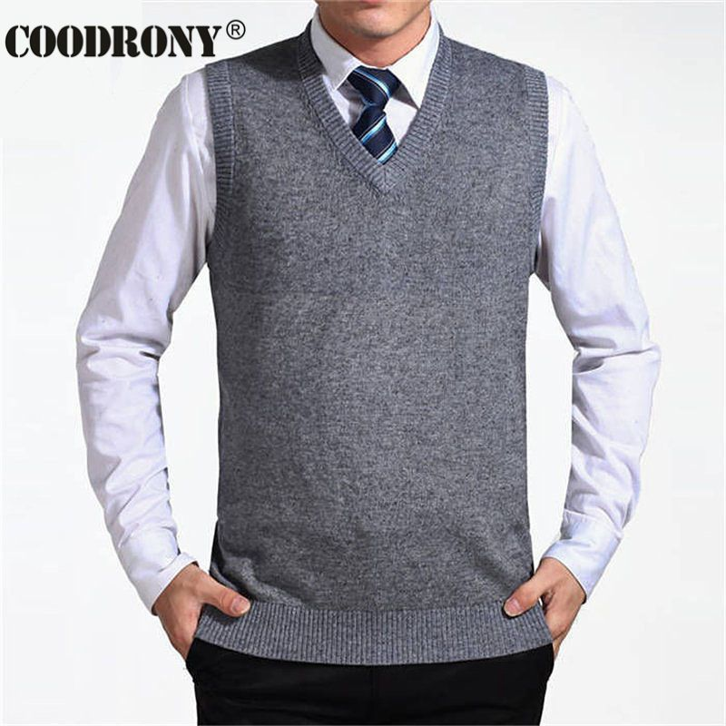 COODRONY 2017 New Arrival Solid Color Sweater Vest Men Cashmere Sweaters Wool Pullover Men Brand V-Neck Sleeveless Jersey Hombre