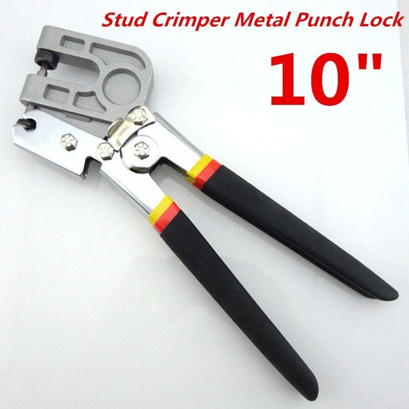 10 Inch TPR Handle Stud Crimper Pincer Punch Pliers Punching Forceps Board Drywall Partition Fastener Crimping Lock Hand Tool