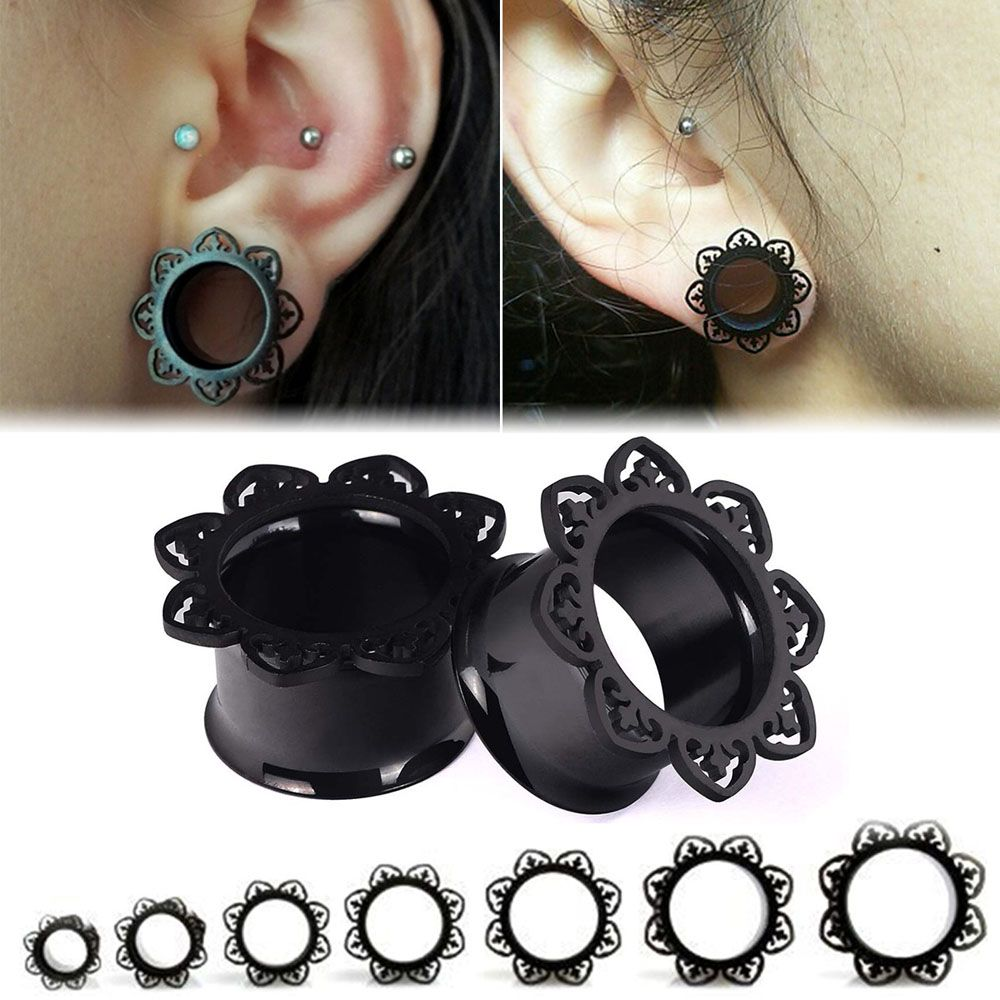 Dark Light 1Pair Stainless Steel Ear Tunnel Reamer Ear Dilators Lace Flower Gauges Body Piercing Ear Reamer Expander 8mm-16mm