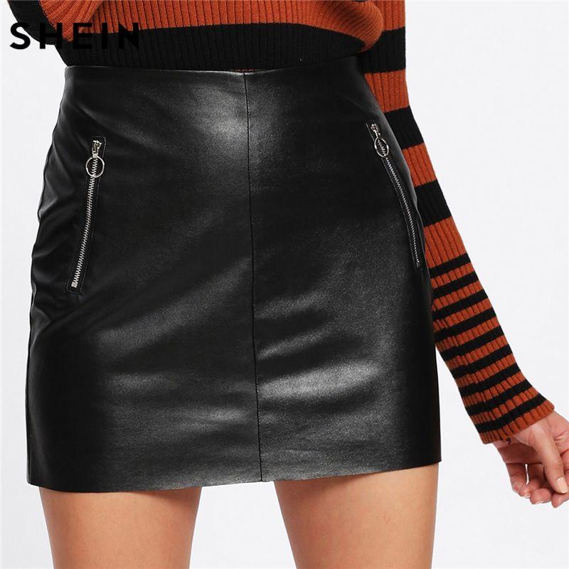 SHEIN Skirts Womens Sexy Short Skirt Fashion Women's Clothing 2018 Black High Waist O-Ring Zip Detail Faux Leather Skirt