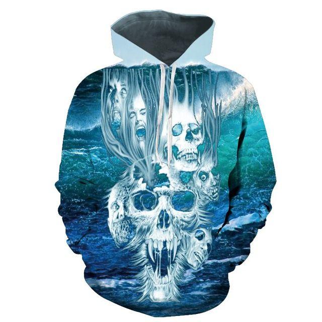 New Size M-3XL graffiti Skull Hoodies Unisex Sweatshirt Hoodies 3D print graffiti Skull Punisher Grim Reaper Fashion hot Style
