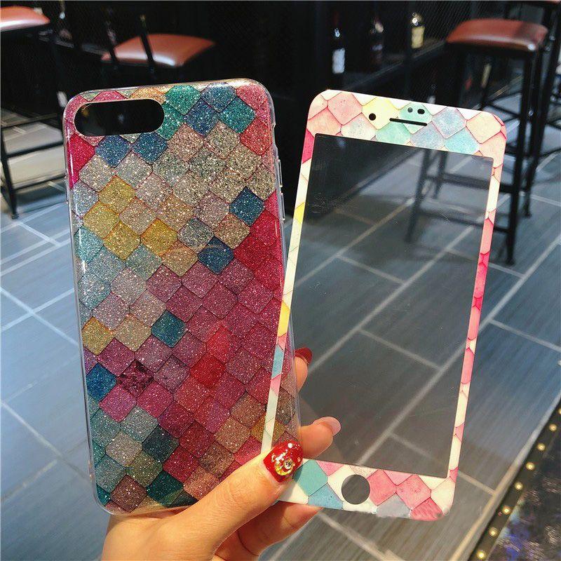 Fischschuppen Fällen Für iPhone 8/7 Plus Gehärtetes Glas Luxus bling TPU Abdeckung für iPhone 7 6 s Plus 8 Plus weichen fall bunte Bildschirm