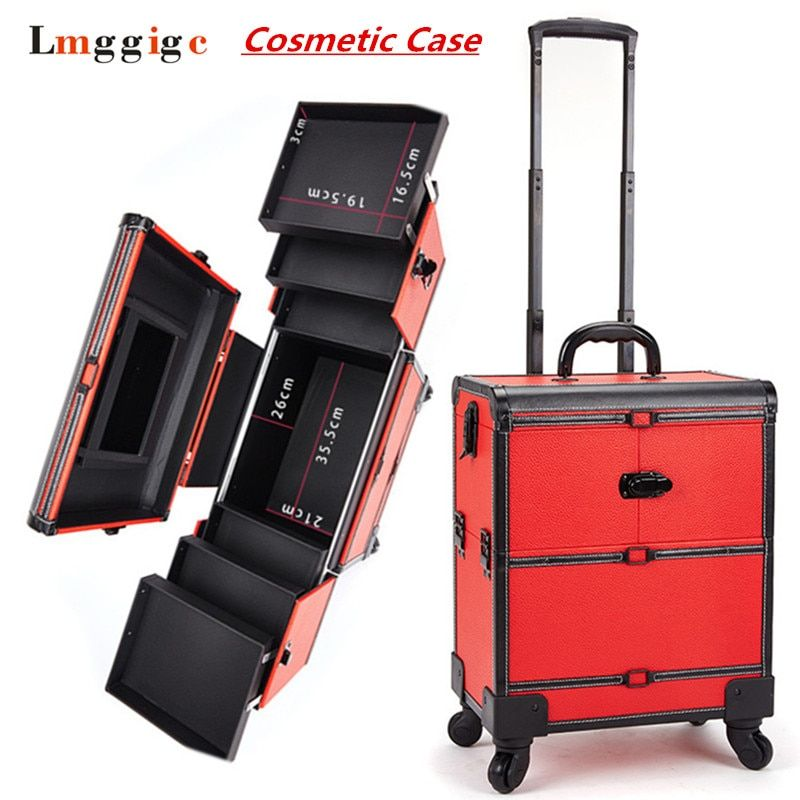 Makeup artist Toolbox with Rolling,Cabin Cosmetic Bags,Wheel Trolley Nails Make-up Case,New Beauty Box Travel Luggage Suitcase