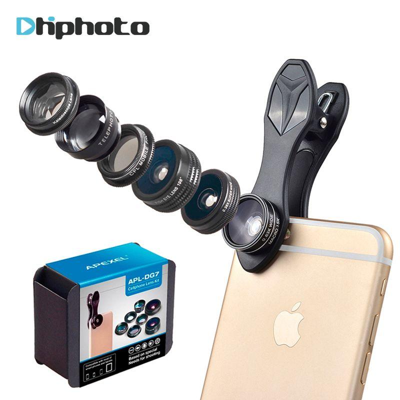 APEXEL 7 in 1 Handy-kamera-objektiv Kit, kaleidoskop/Fisheye/Weitwinkel Makro/Tele/CPL Objektiv für iPhone Xiaomi Huawei