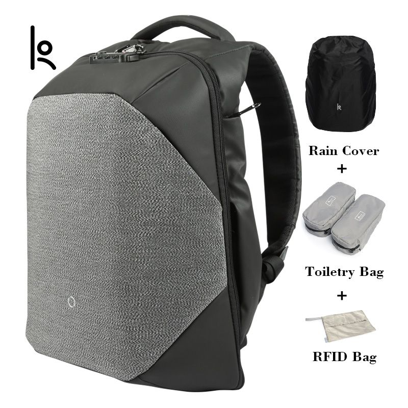 K Click Anti-Cut Solid Backpacks Scientific Storage System Bags External USB Charging Laptop Backpack For Man And Women