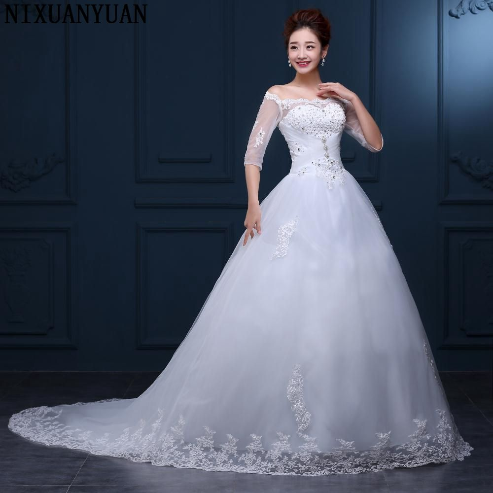 New Arrival Lace Ball Gown Wedding Dresses 2017 Plus Size Bridal Wedding Dress Real Photo Free Shipping