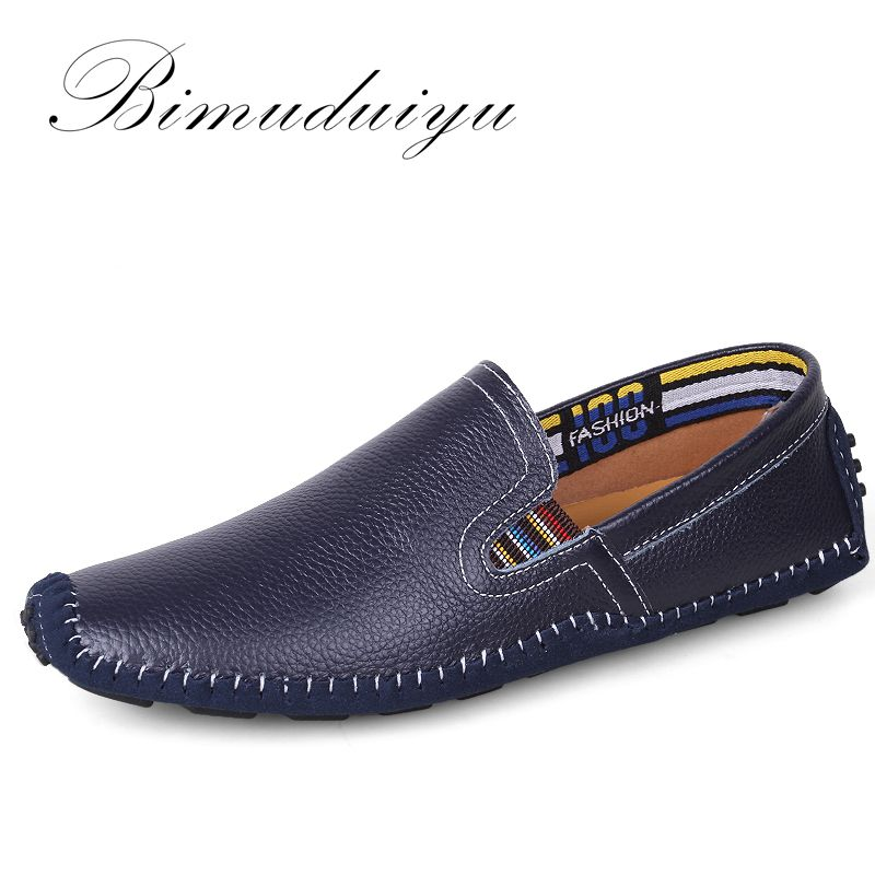 Bimuduiyu luz Super Soft Venta caliente planos perezosos Zapatos Cuero auténtico más tamaño transpirable conducción casual hecho a mano Zapatos para hombres